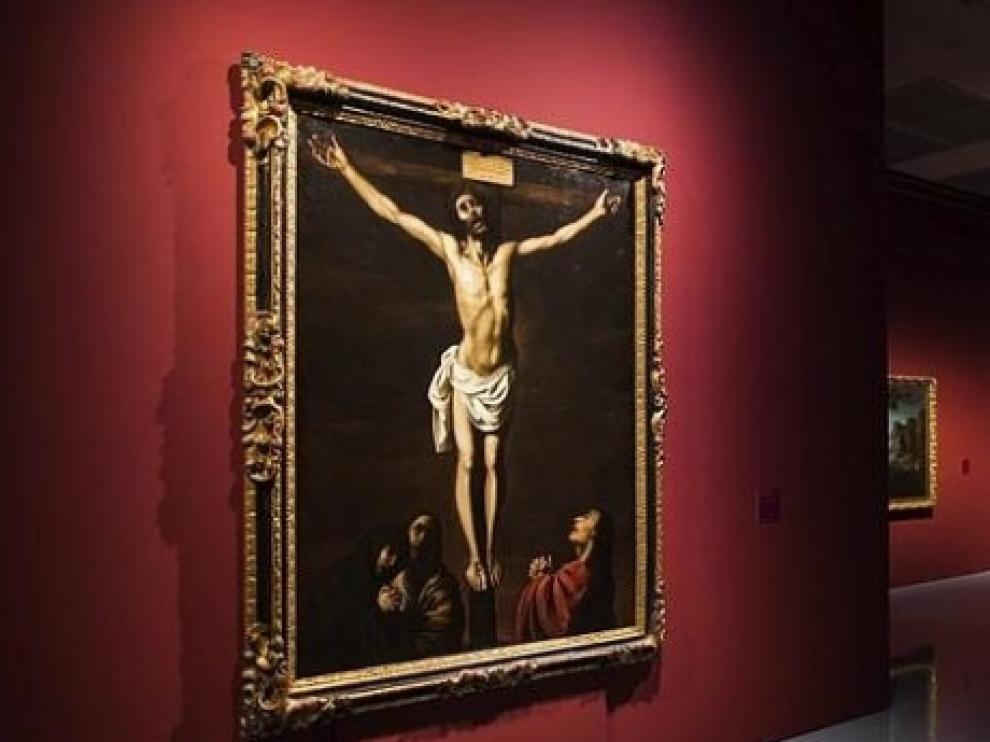 Vista del cuadro 'Cristo en la Cruz con la Virgen, Maria Magdalena y San Juan a sus pies' de Francisco de Zurbarán en el Museum Kunstpalast de Düsseldorf, Alemania.