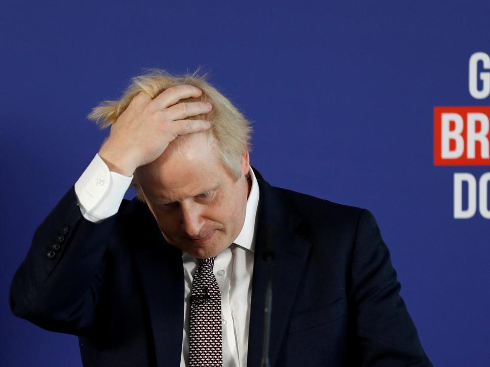 El primer ministro británico, Boris Johnson, en una comparecencia hoy en Londres.