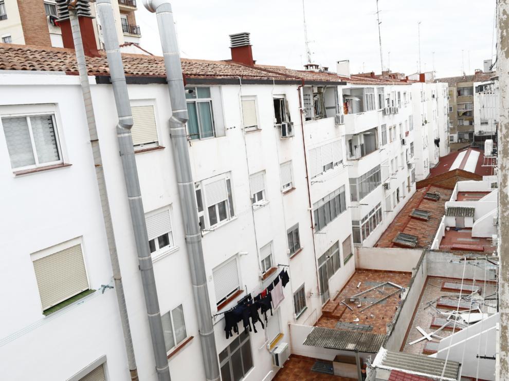 Estado en que ha quedado la vivienda de Las Fuentes, tras la explosión.