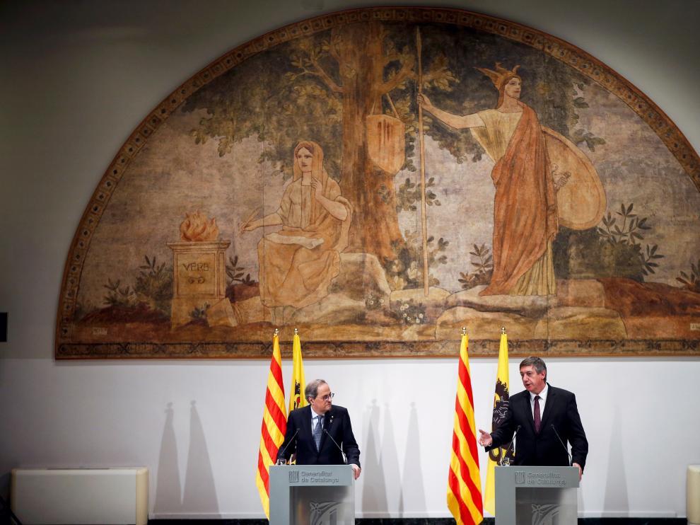 Rueda de prensa conjunta del presidente catalán y su homólogo de Flandes.