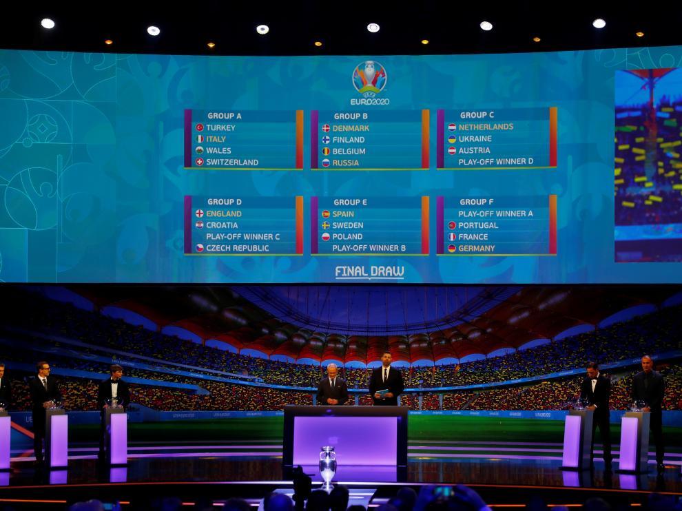 Imagen del sorteo de la Eurocopa celebrado este sábado en Bucarest.