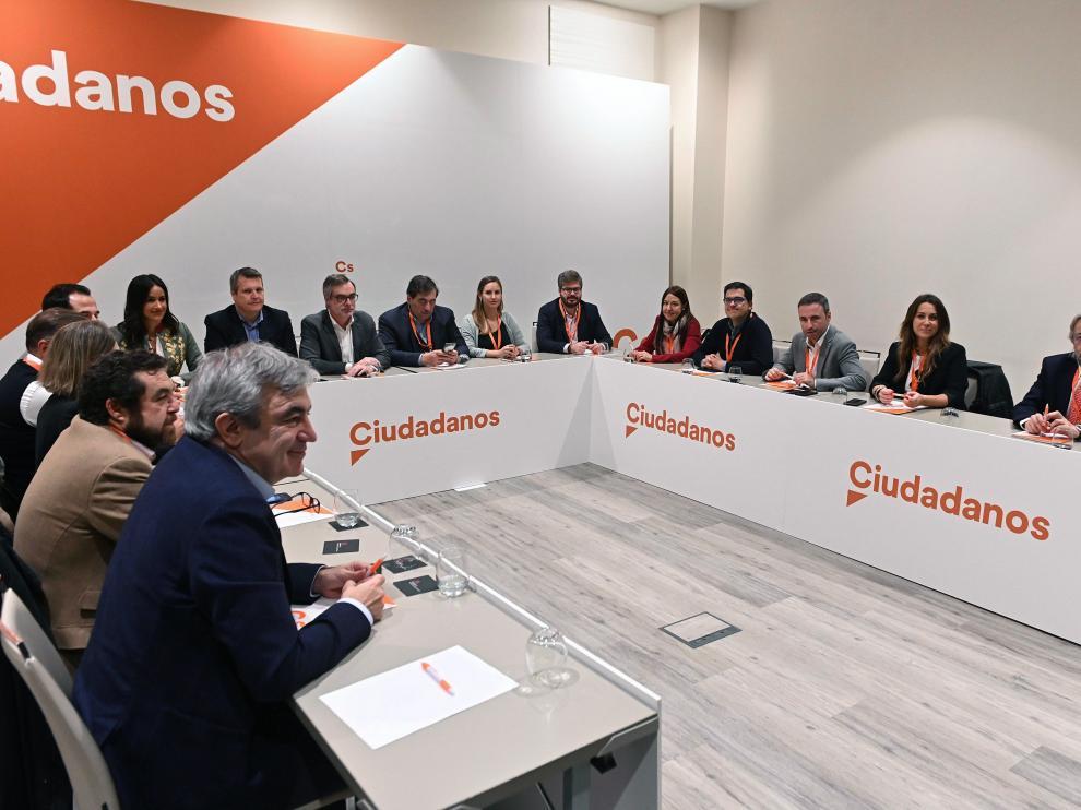El eurodiputado Luis Garicano junto al resto de la nueva gestora de Ciudadanos.