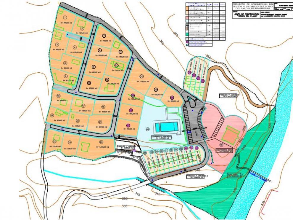 Plano del sector de la Virgen del Plano, afectado por el proyecto de urbanización.