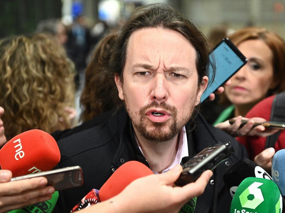 Pablo Iglesias, a su llegada a la Cumbre del Clima en Madrid.