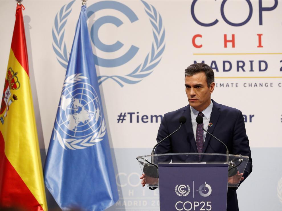 Pedro Sánchez, durante la inauguración de la Cumbre del Clima en Madrid.