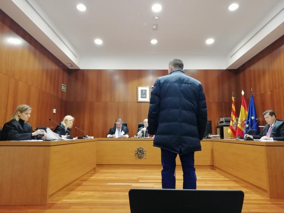 El acusado, durante el juicio celebrado este martes en la Audiencia Provincial de Zaragoza.