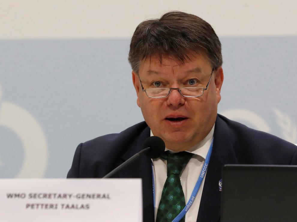 El secretario general de la OMM, Petteri Talaas, en la cumbre del clima en Madrid.