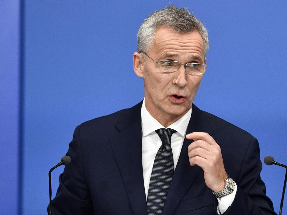 London (United Kingdom), 04/12/2019.- NATO Secretary-General Jens Stoltenberg attends a press conference during the NATO Summit in London, Britain, 04 December 2019. NATO countries' heads of states and governments gather in London for a two-day meeting. (Reino Unido, Londres) EFE/EPA/NEIL HALL Meeting of NATO Heads of State and Government London