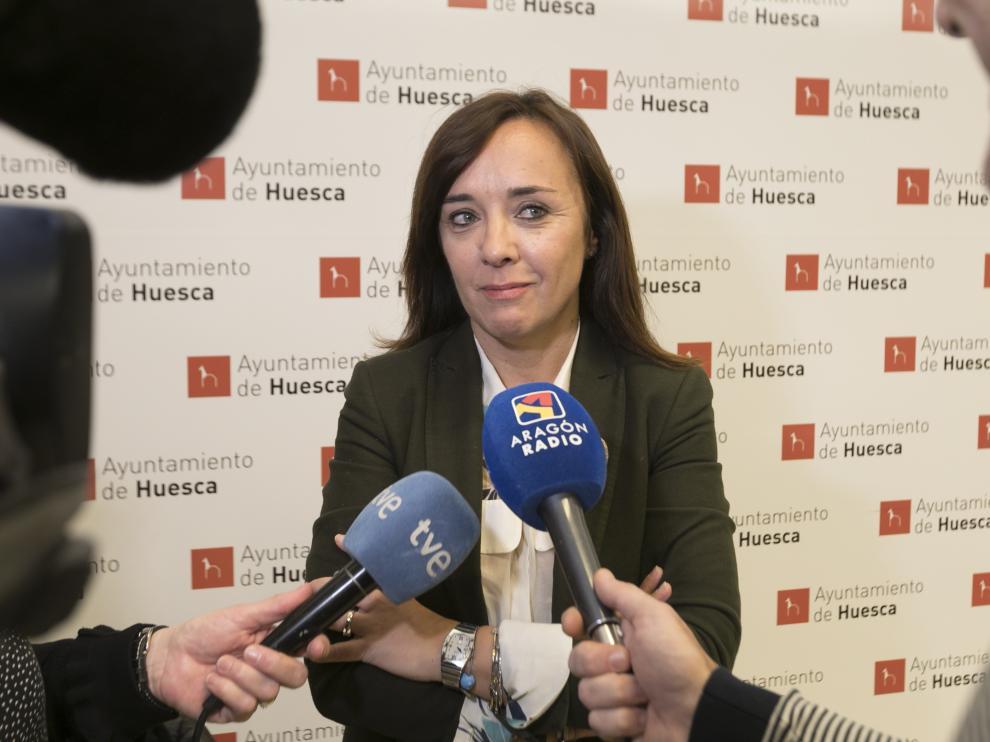 La portavoz del PP, Gemma Allué, tras la comisión de Seguridad Ciudadana del martes