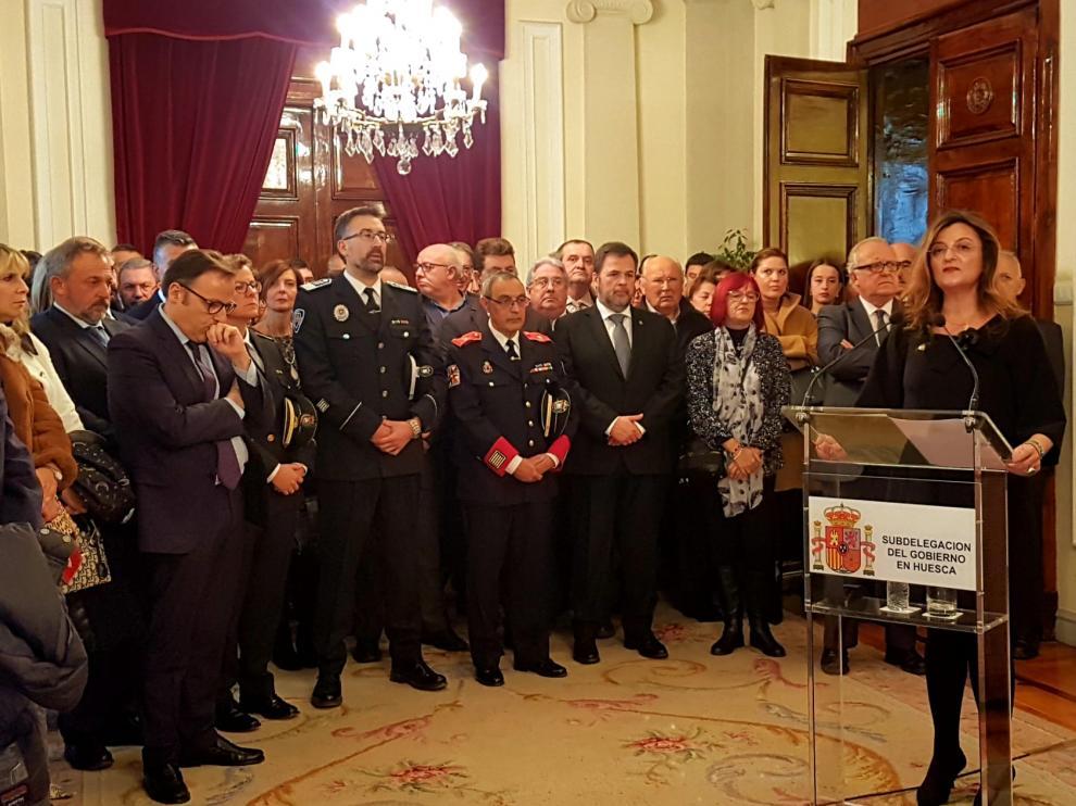 La subdelegada del Gobierno en Huesca, Isabel Blasco, durante su intervención.