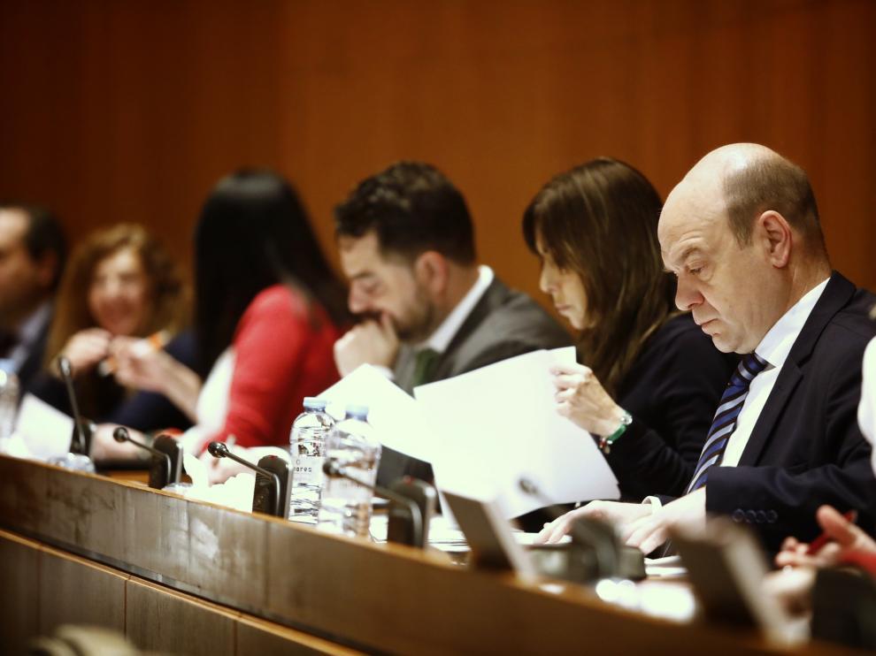 Los diputados de Vox, este miércoles en el pleno de las Cortes