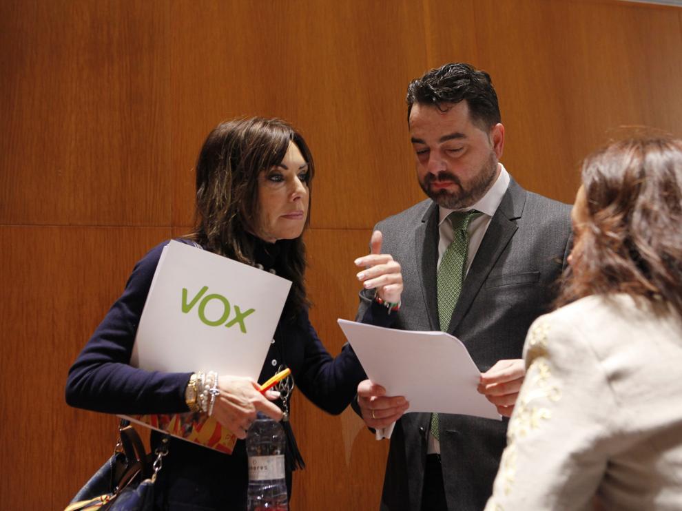 Los diputados de Vox, este miércoles en las Cortes de Aragón