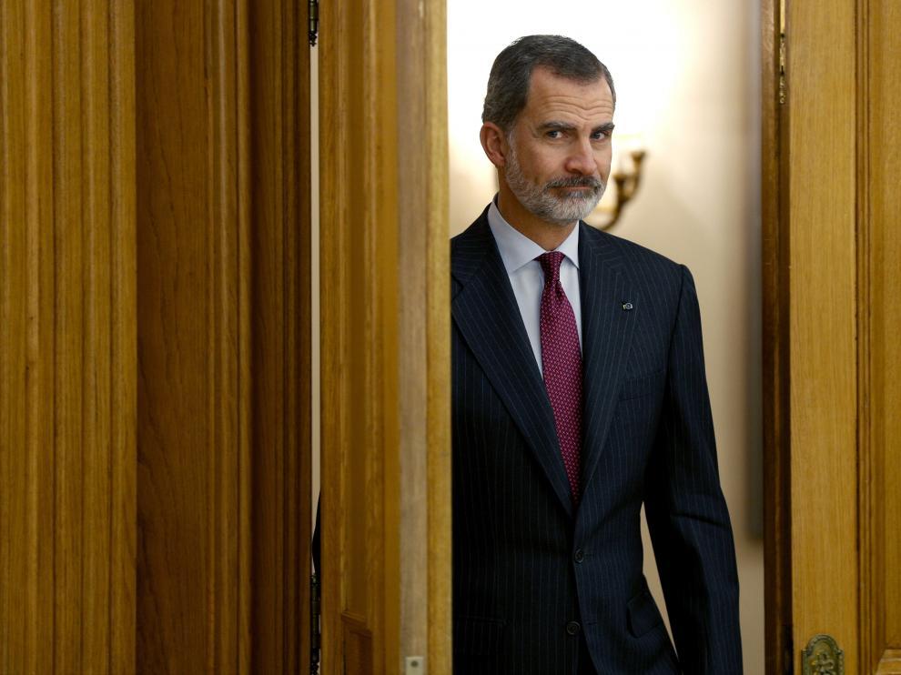 El rey Felipe VI, en el Palacio de la Zarzuela de Madrid