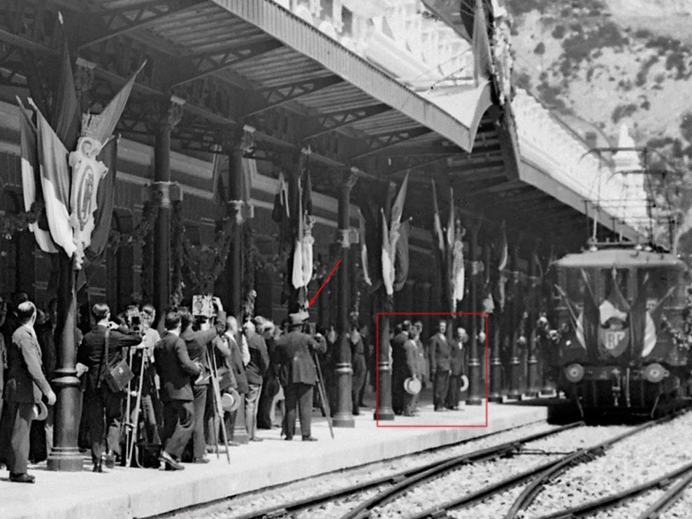 Imagen del día de la inauguración de la estación internacional de Canfranc