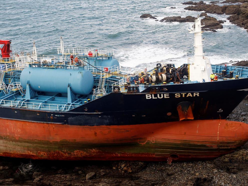 El buque 'Blue Star' encalló la medianoche del 24 de noviembre.