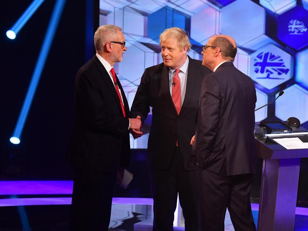 Jeremy Corbyn y Boris Johnson durante el cara a cara.