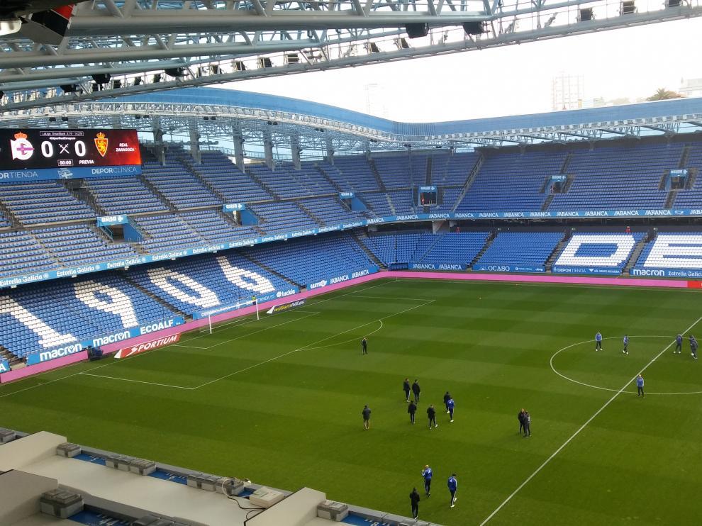 Imagen de Riazor una hora antes del Deportivo-Real Zaragoza.