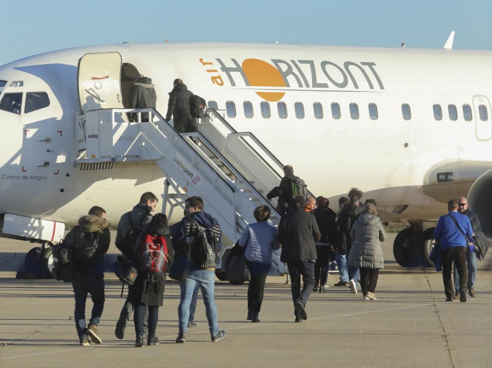 La temporada pasada en Primera solo hubo un vuelo con aficionados de la SD Huesca a Vigo.