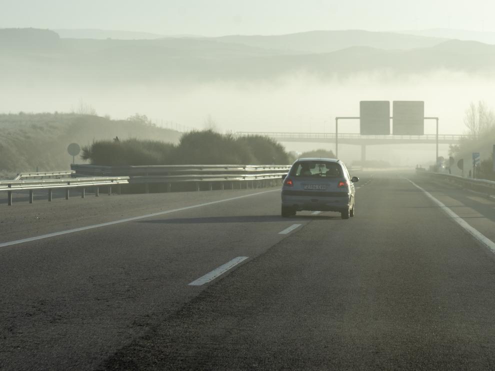 Niebla en la autovia mudejar cerca de Teruel. foto Antonio garcia/bykofoto. 08/12/19 [[[FOTOGRAFOS]]]
