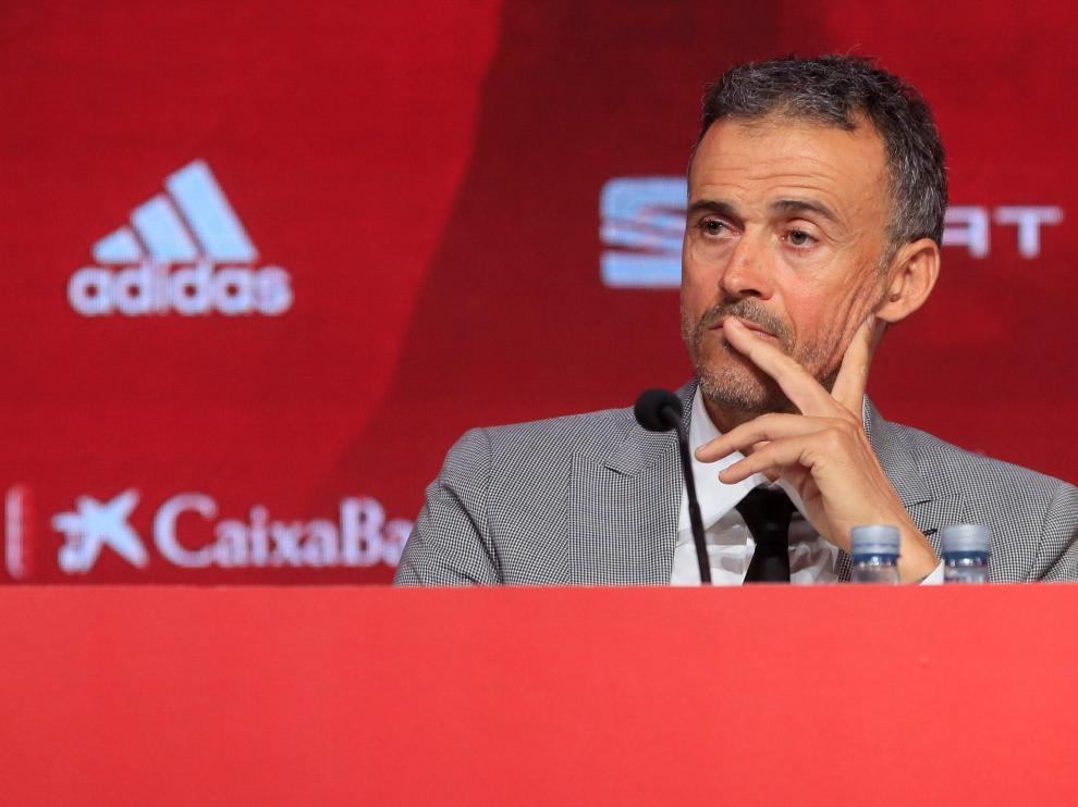 El seleccionador nacional de fútbol, Luis Enrique Martínez, en una rueda de prensa celebrada en la sede de la Ciudad del Fútbol