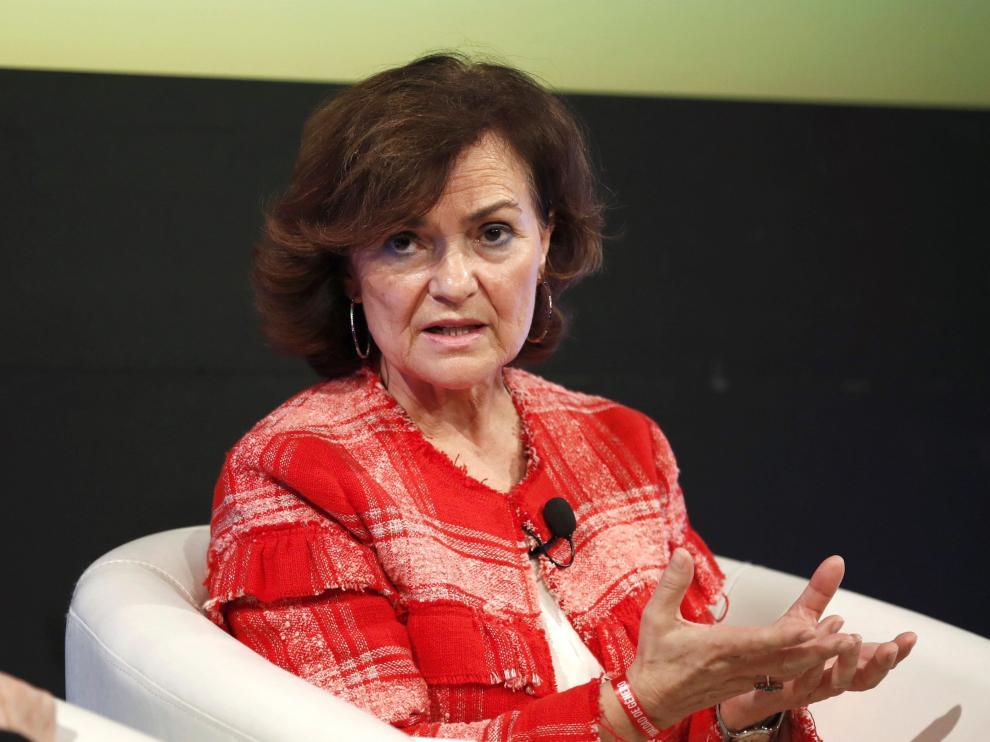 La vicepresidenta del Ejecutivo en funciones, Carmen Calvo.