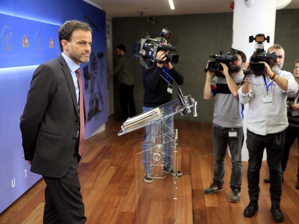 El diputado Jaume Asens (En Comù Podem) este miércoles durante la rueda de prensa tras reunirse con el Rey.