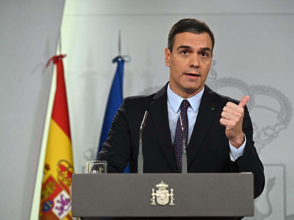 El líder del PSOE y presidente del Gobierno en funciones, Pedro Sánchez, durante la rueda de prensa ofrecida en el Palacio de la Moncloa después de que el rey de España le designara como candidato a presidente