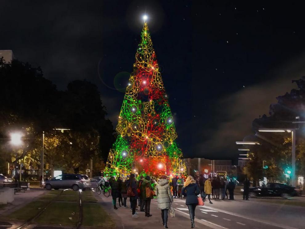 Recreación del aspecto del árbol de Navidad que se colocará en la plaza de Paraíso.