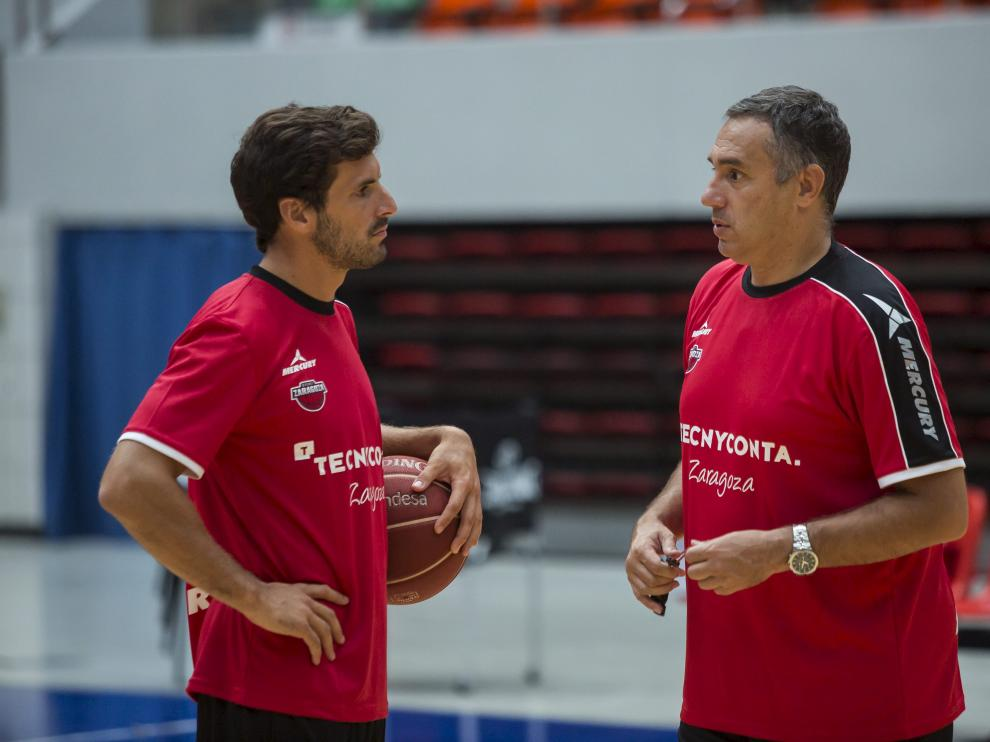Tomás Bellas y Jota Cuspinera durante un entrenamiento en su etapa en Zaragoza.