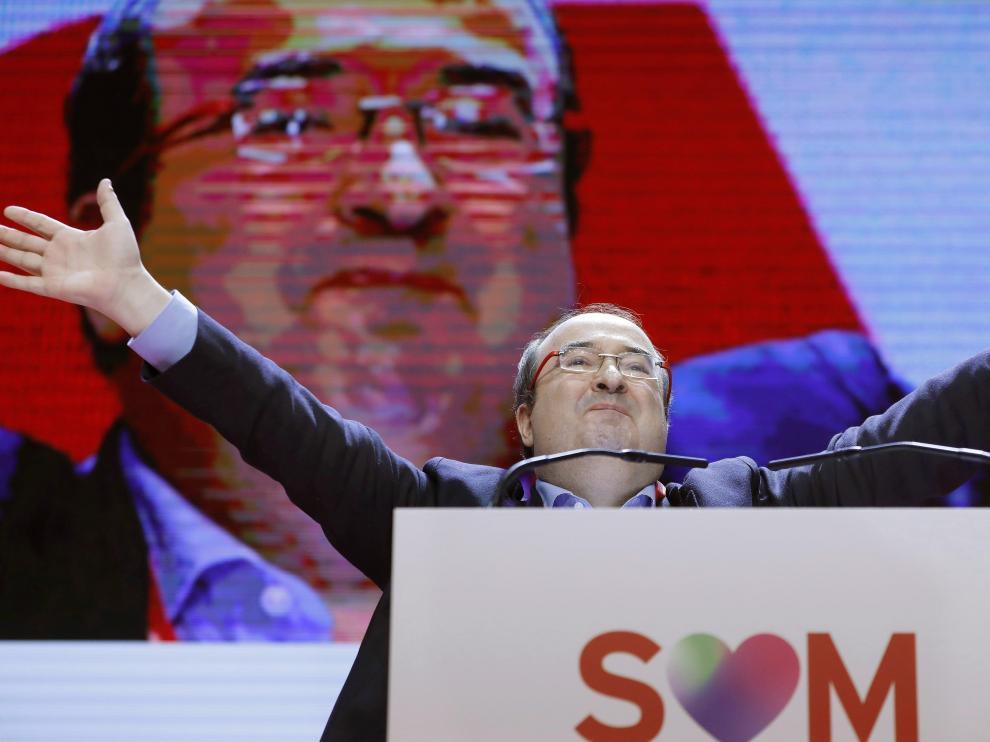 Miquel Iceta tras ser reelegido este sábado como líder de los socialistas catalanes durante la segunda jornada de su congreso celebrado en Barcelona
