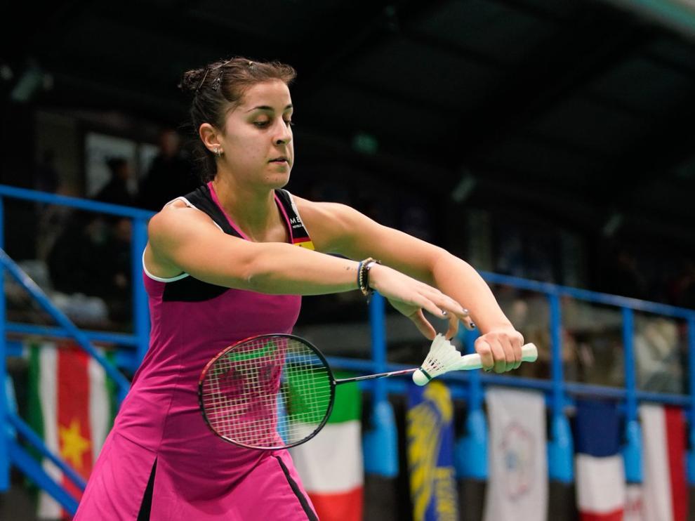 Carolina Marín, en acción en Milán