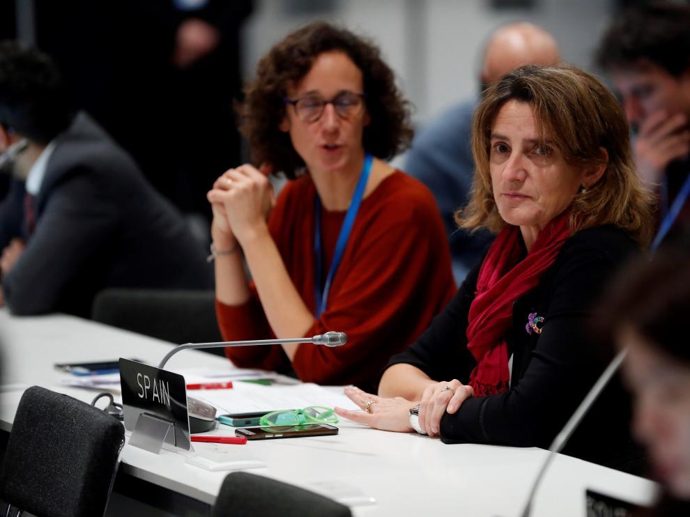 La ministra Teresa Ribera, este domingo, en la Cumbre del Clima.