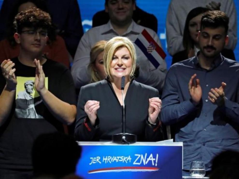 La presidenta croata en funciones, Kolinda Grabar-Kitarovicen, en un mitin de campaña.