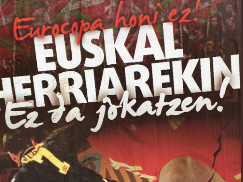 Cartel en contra de la Eurocopa en Bilbao.
