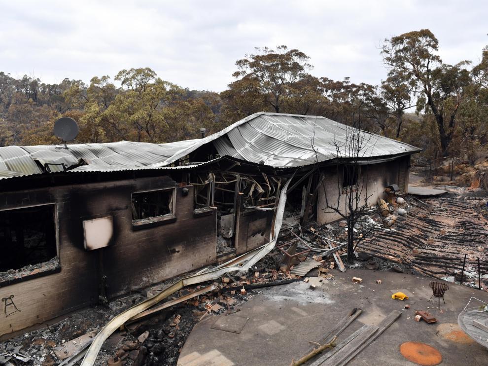 Una de las viviendas calcinadas en los incendios
