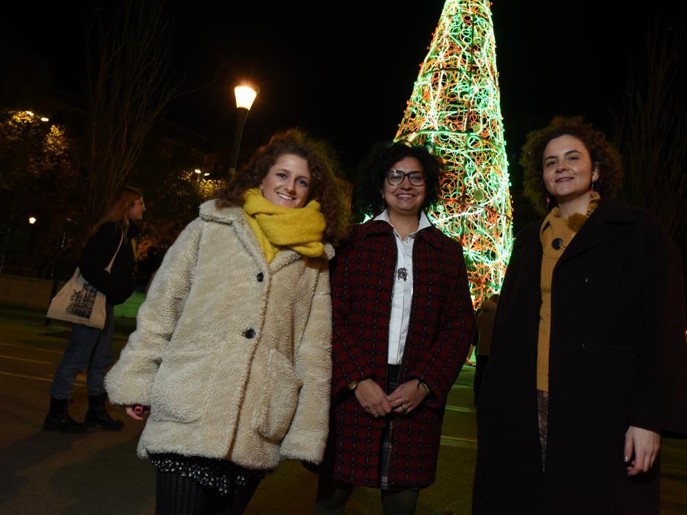 Alba López, Patricia Forcén y Sandra Esteras, en Zaragoza.