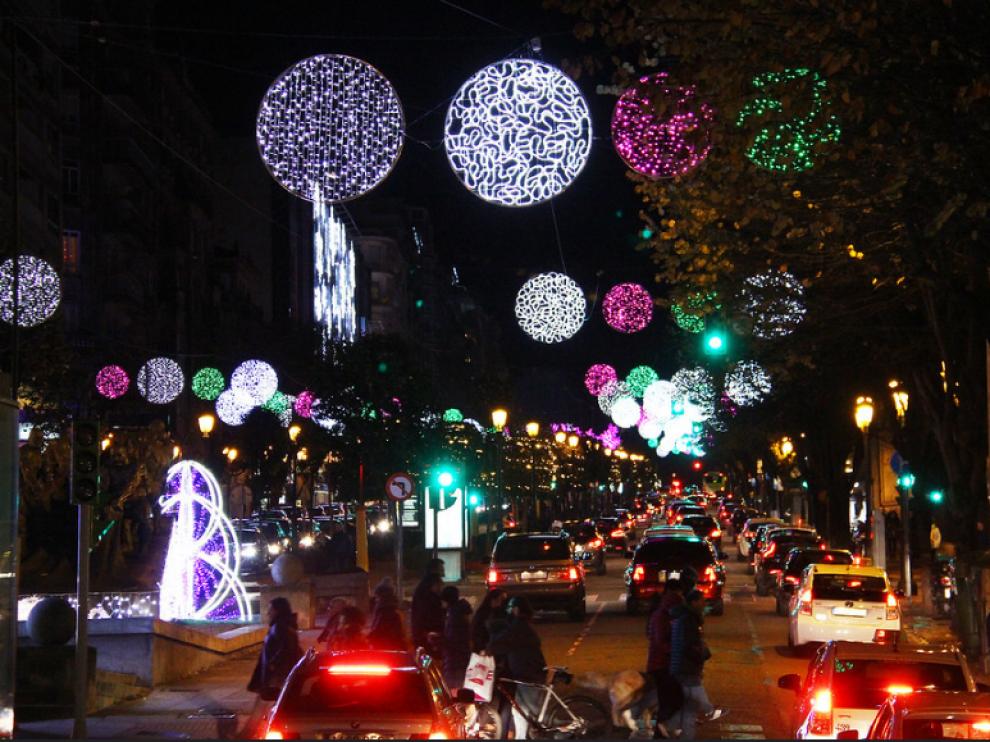 Imagen de archivo de las luces de Navidad de Vigo.