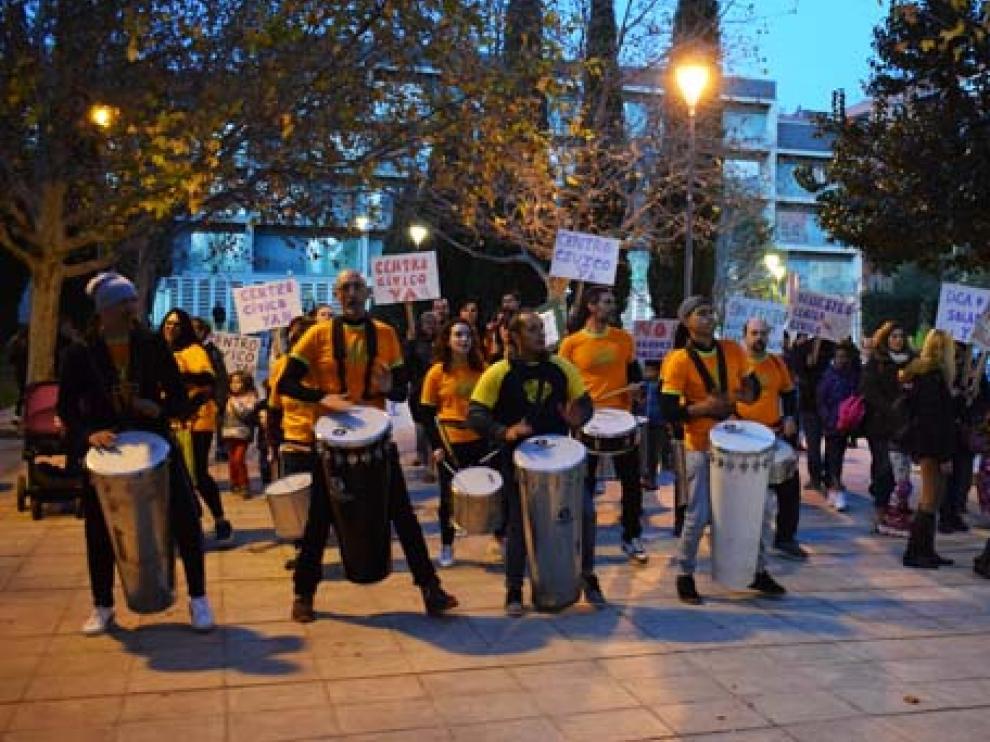 Batucada llevada a cabo la tarde del jueves en las calles del barrio de Parque Goya.