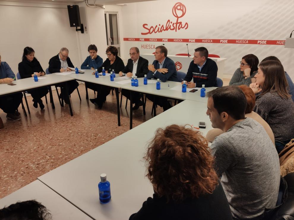 Lambán ha asistido este viernes a la Comisión Ejecutiva Provincial del PSOE en el Alto Aragón.