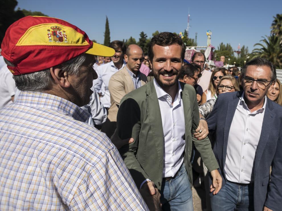 El candidato a la Presidencia del Gobierno, Pablo Casado, estuvo en septiembre en Zaragoza en el día del afiliado del PP
