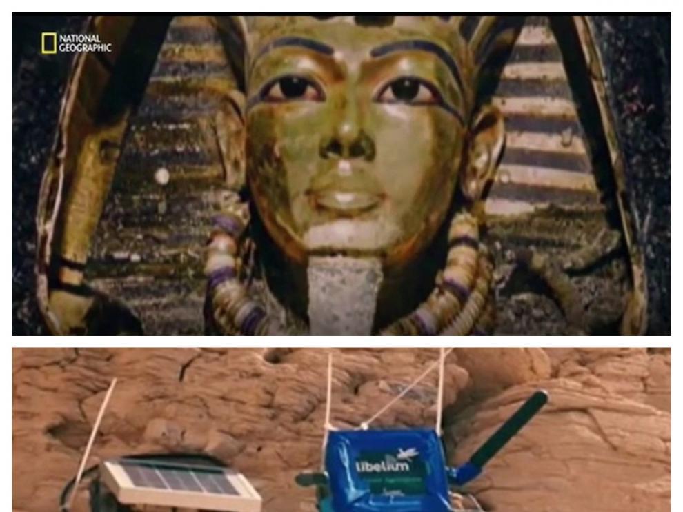 Imágenes de un documental de National Geographic sobre el trabajo de arqueólogos en Egipto. Arriba, la tumba de Tutankhamon. Abajo, sensores de Libelium.