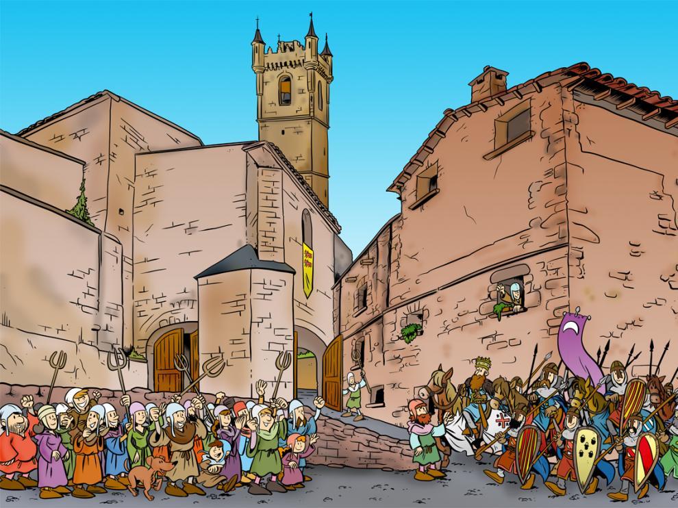 Uncastillo y sus gentes reciben a Ramiro II en 1136 tras la revuelta en la localidad