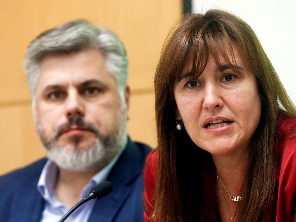 La portavoz de JxCat en el Congreso, Laura Borràs, este martes.