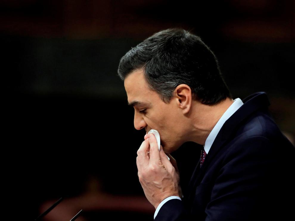 El candidato a presidente del Gobierno, Pedro Sánchez, hoy sábado en el Congreso de los Diputados durante su intervención en la primera jornada de su investidura como presidente del Gobierno