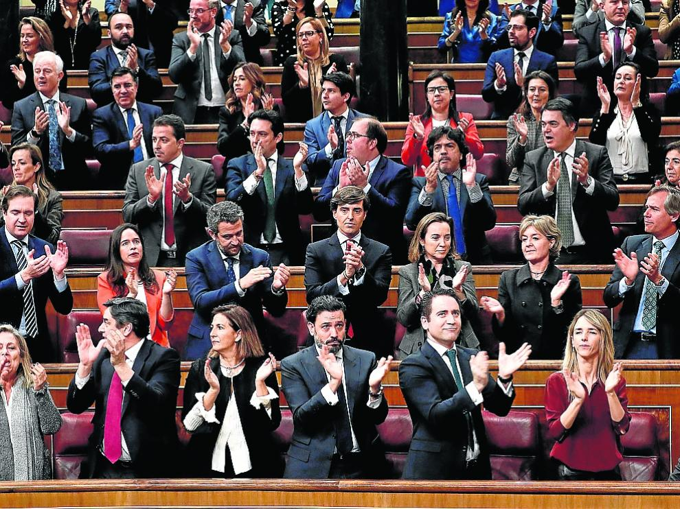 La bancada del PP, ayer durante la sesión de investidura de Pedro Sánchez