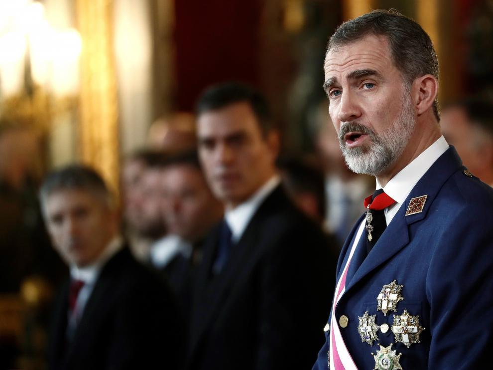 Felipe VI durante su intervención en el tradicional acto de la Pascua Militar.