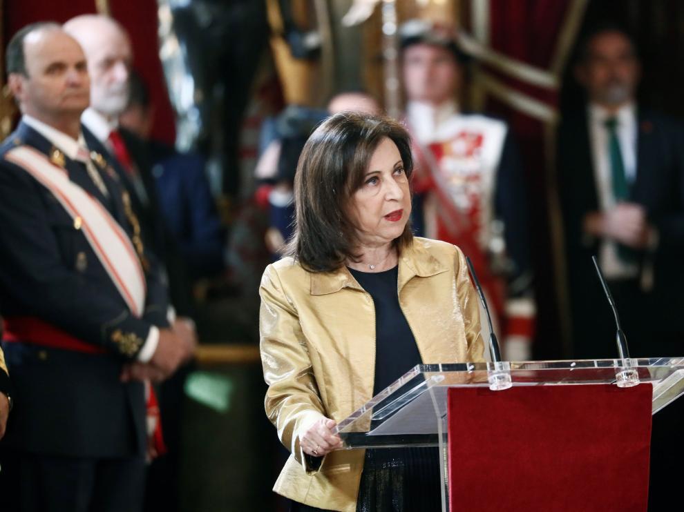 La ministra de Defensa en funciones durante su intervención este lunes en la Pascua Militar.