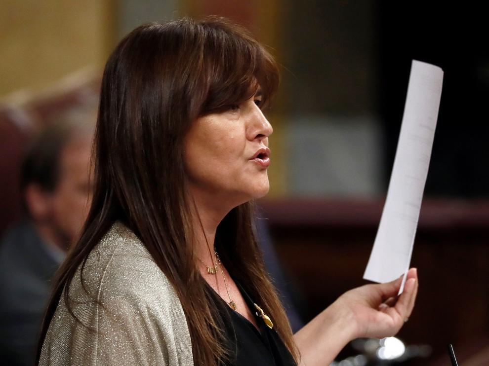 La portavoz de JxCat, Laura Borrás, durante su intervención este martes en el Congreso donde se celebra la segunda y definitiva votación