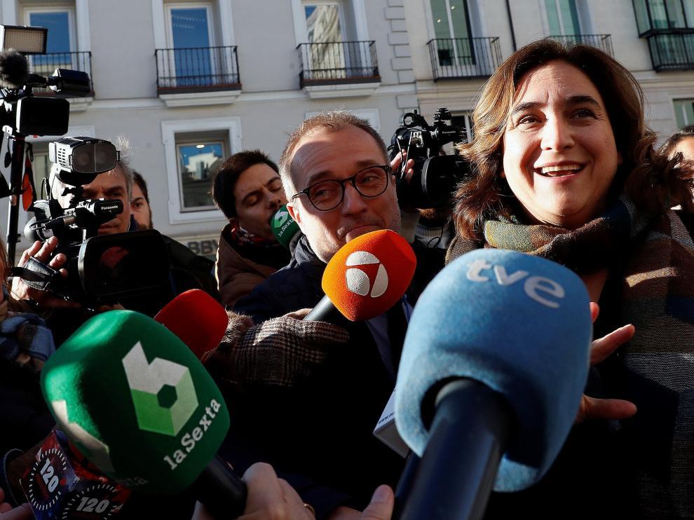 Colau, en declaraciones a los medios este miércoles, con motivo de la investidura de Pedro Sánchez.