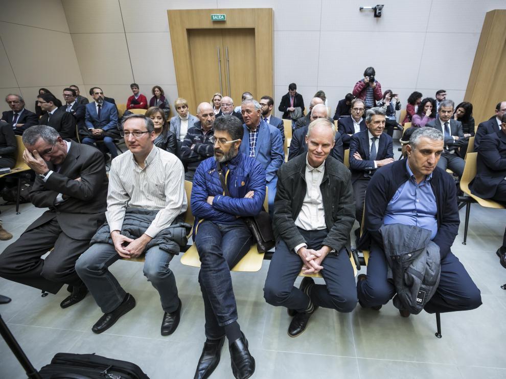 Los principales condenados en el caso Plaza, durante el juicio celebrado en 2018 en Zaragoza.